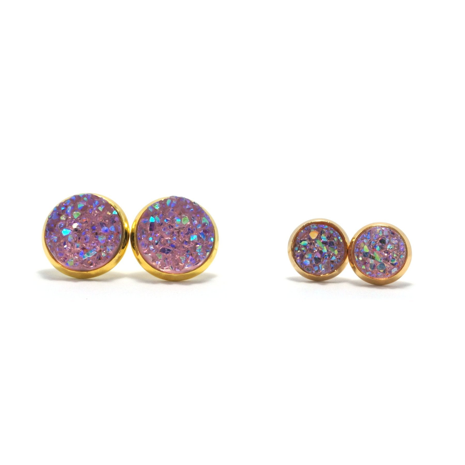 Shop Matching Set Pink Galah Druzy Stud Earrings-Jarvi