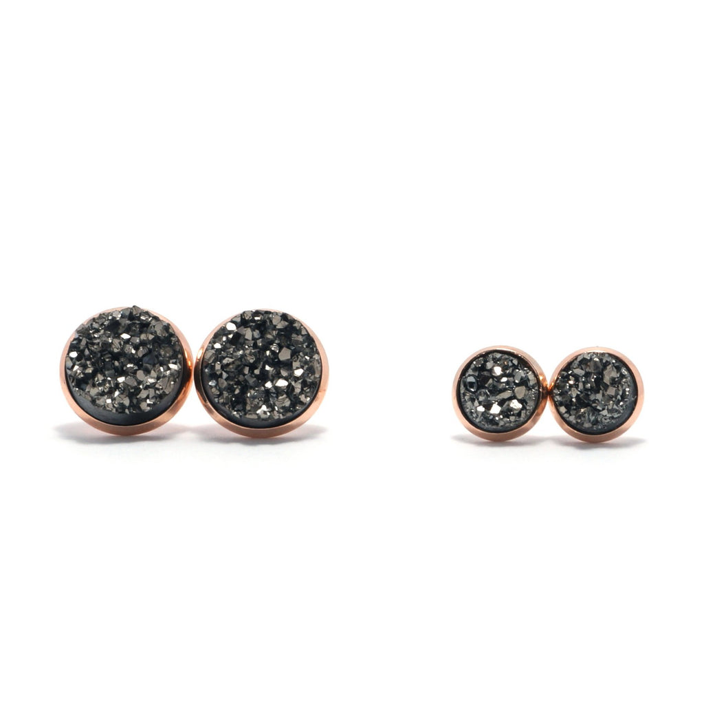 Shop Matching Set Gray Merlin Druzy Stud Earrings-Jarvi