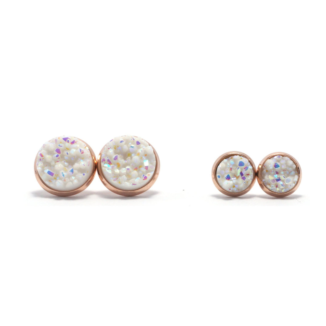 Shop Matching Set White Swan Druzy Stud Earrings-Jarvi