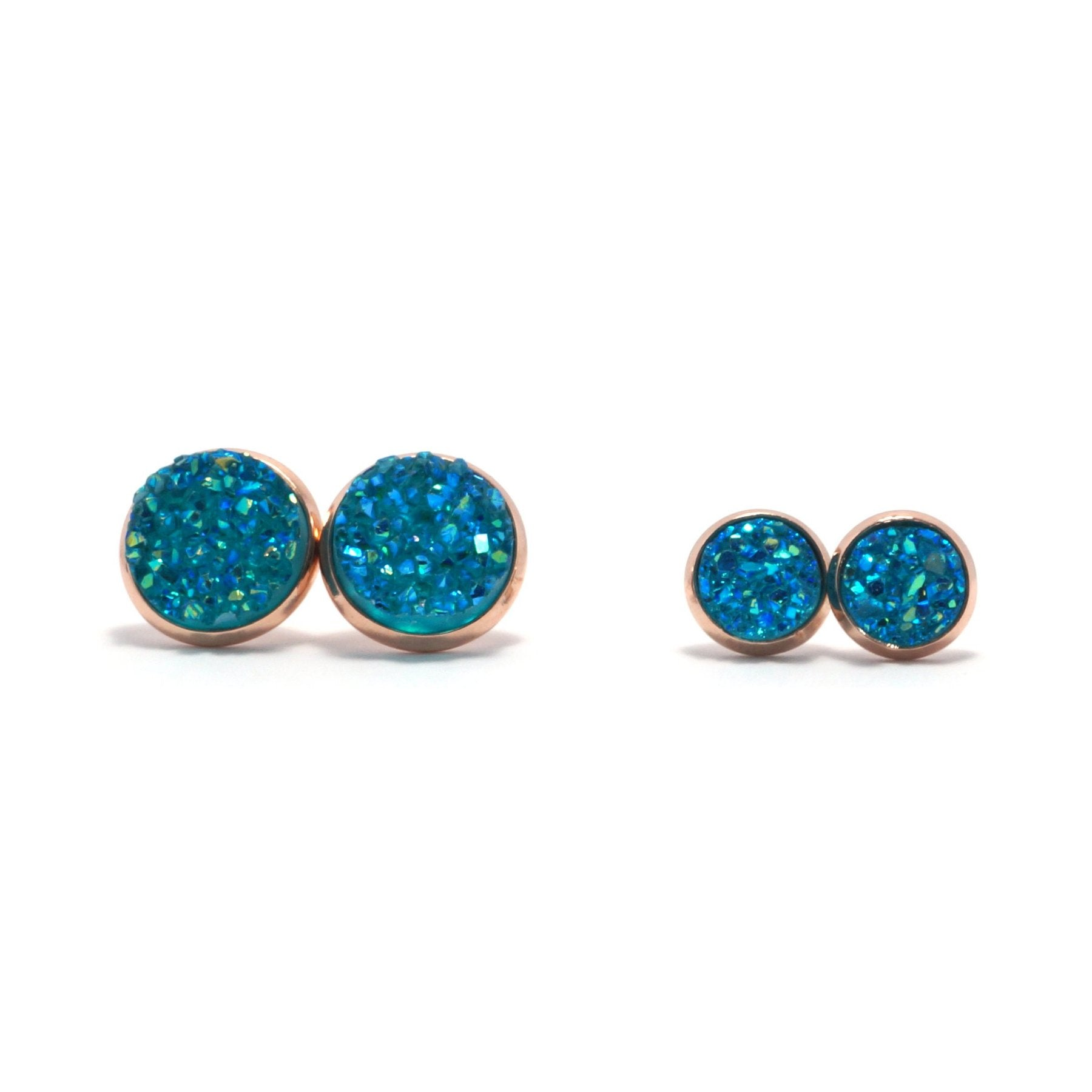 Shop Matching Set Turquoise Pigeon Druzy Stud Earrings-Jarvi
