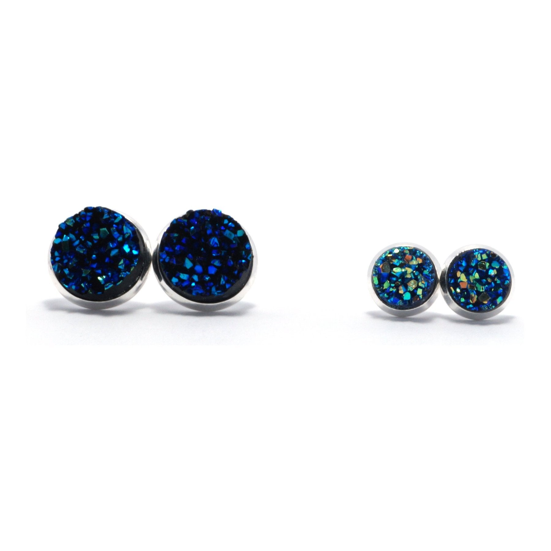 Shop Matching Set Blue Bunting Druzy Stud Earrings-Jarvi