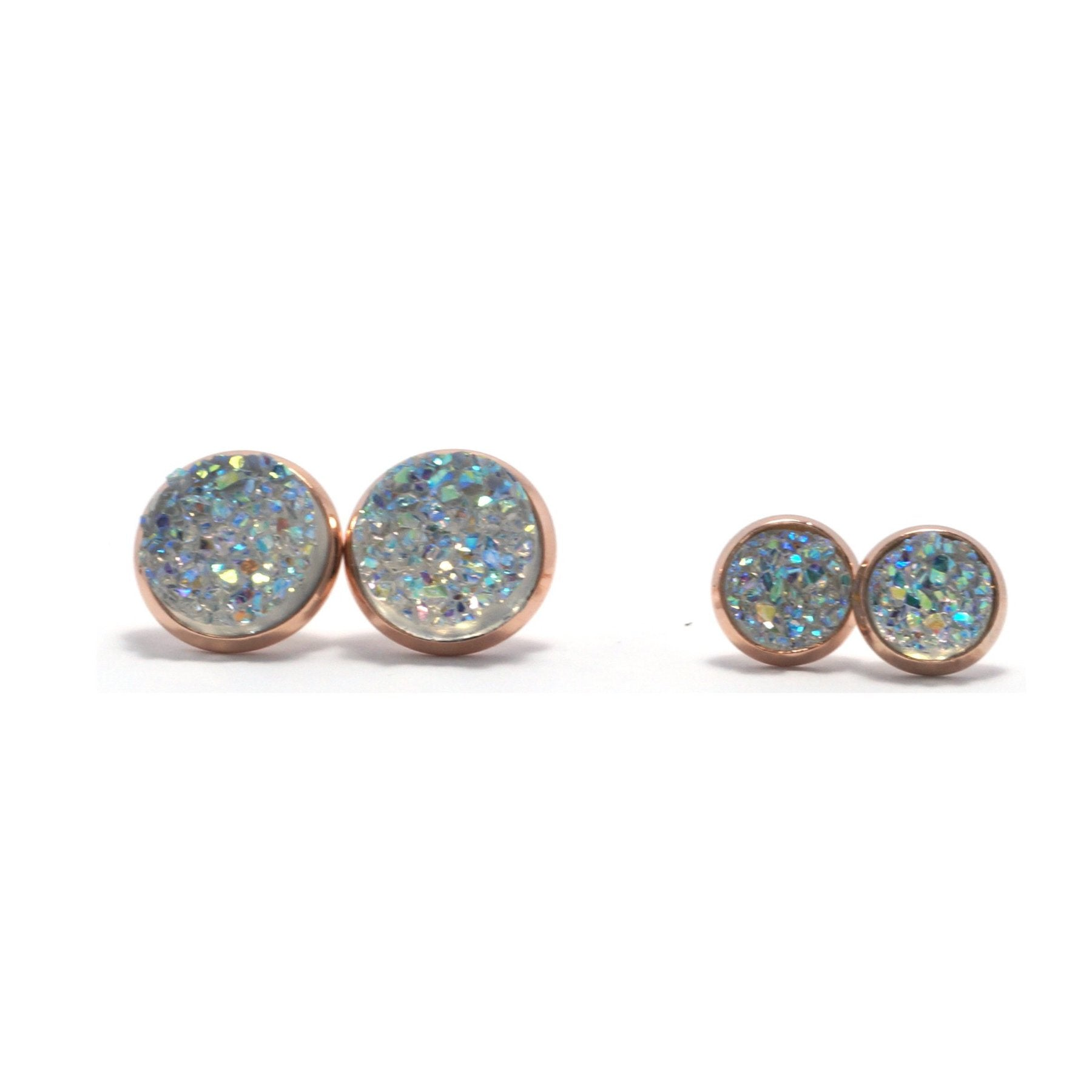 Shop Matching Set Clear Cockatoo Druzy Stud Earrings-Jarvi