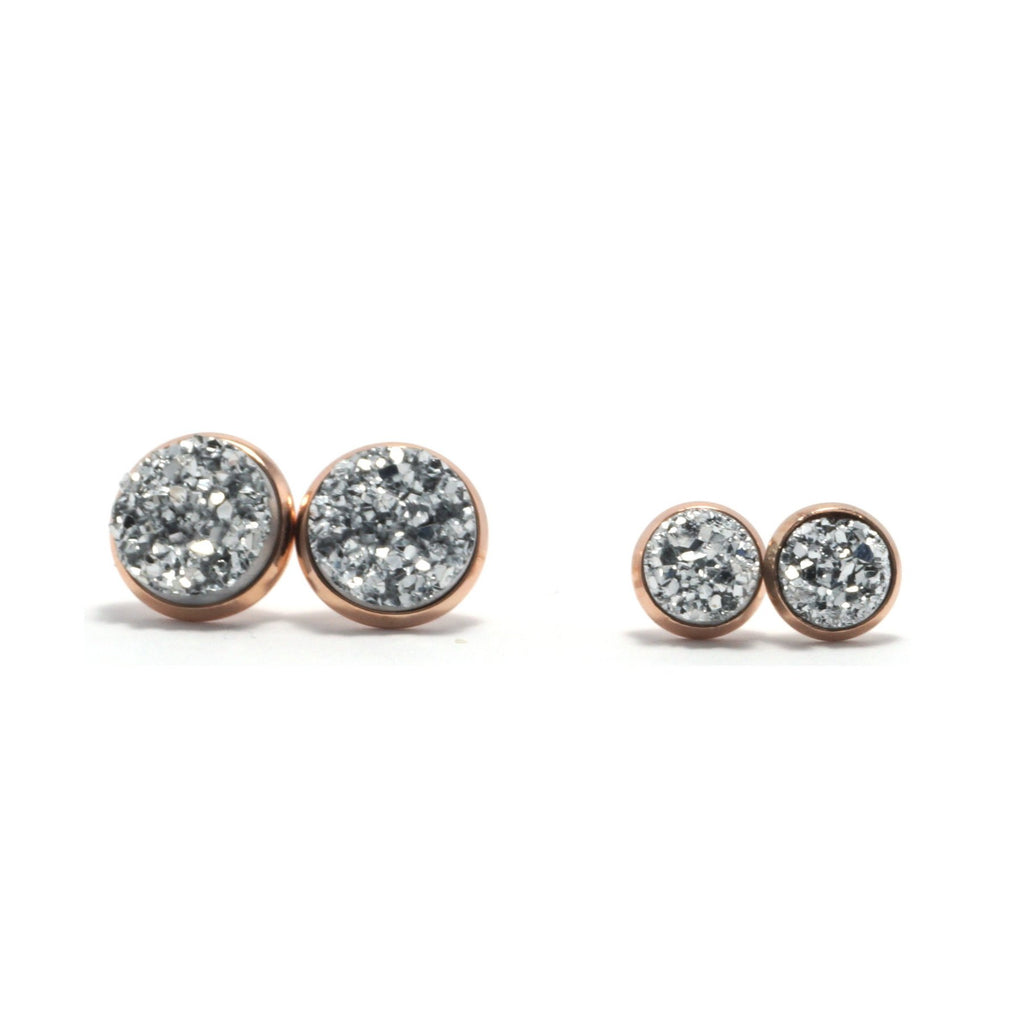 Shop Matching Set Silver Kite Druzy Stud Earrings-Jarvi