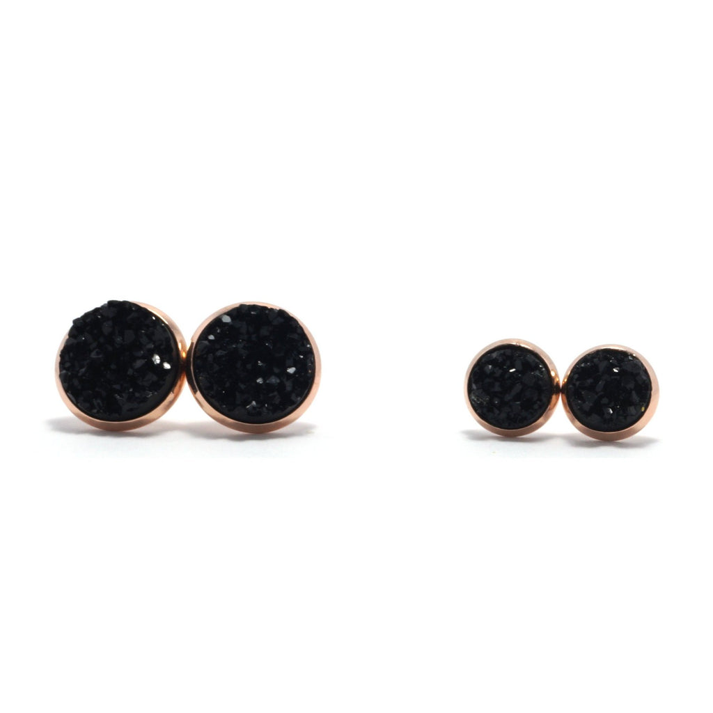 Shop Matching Set Black Raven Druzy Stud Earrings-Jarvi