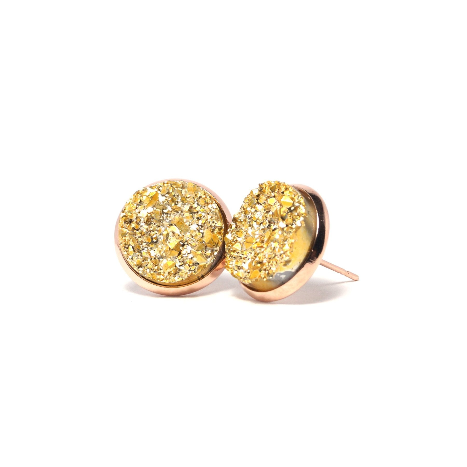 Shop Golden Canary Druzy Stud Earrings (14mm)-Jarvi