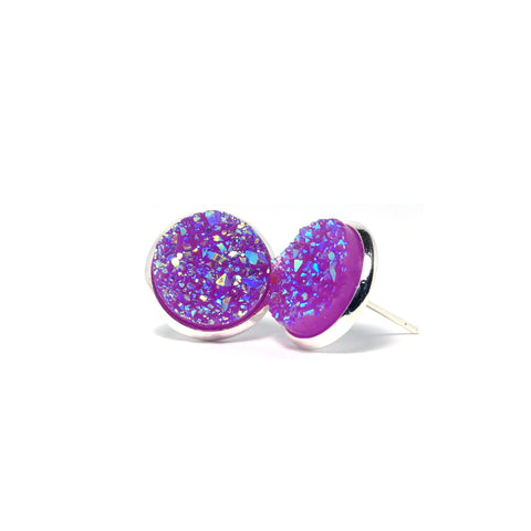 Shop Purple Grenadier Druzy Stud Earrings (14mm)-Jarvi