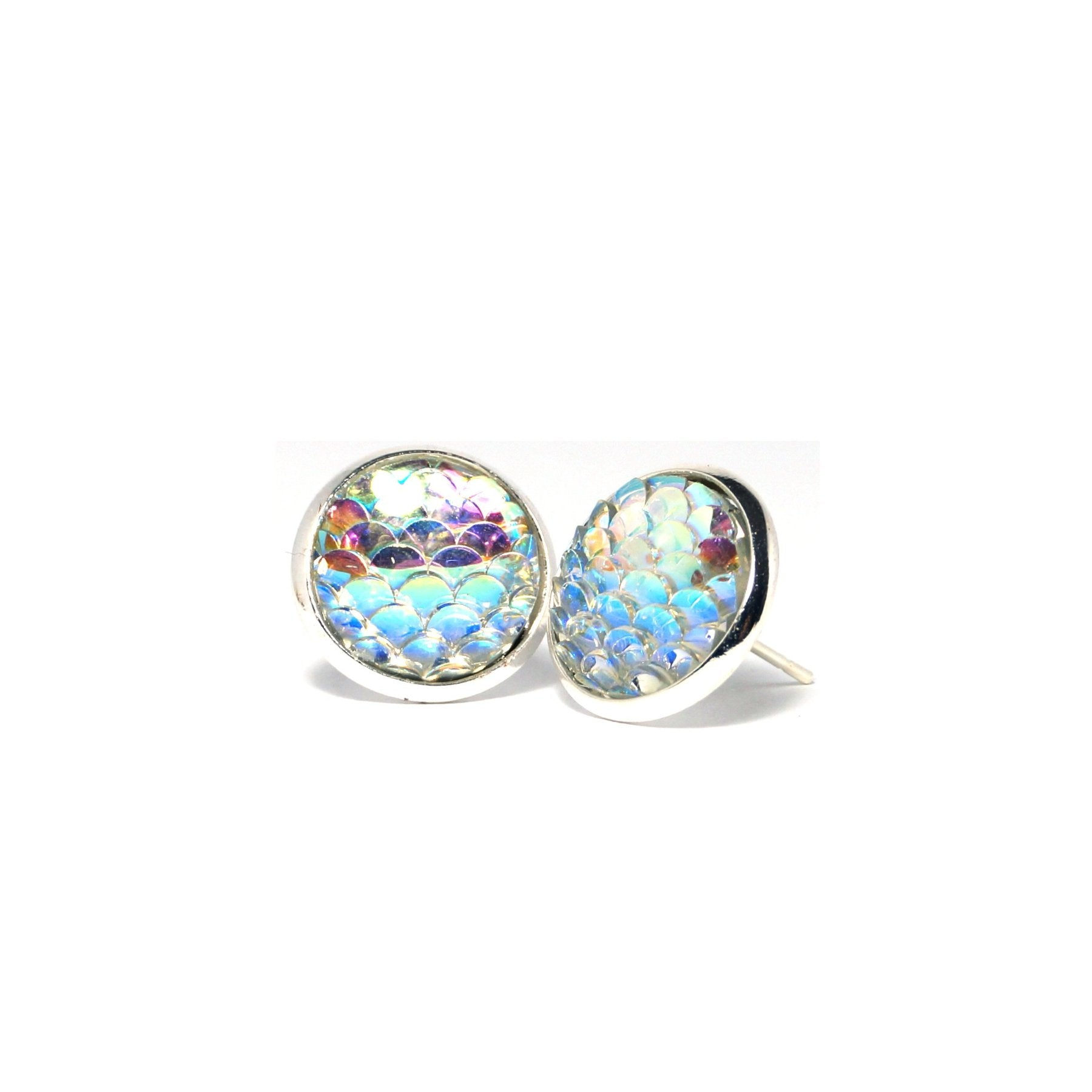 Shop Clear Mermaid Scale Stud Earrings (14mm)-Jarvi