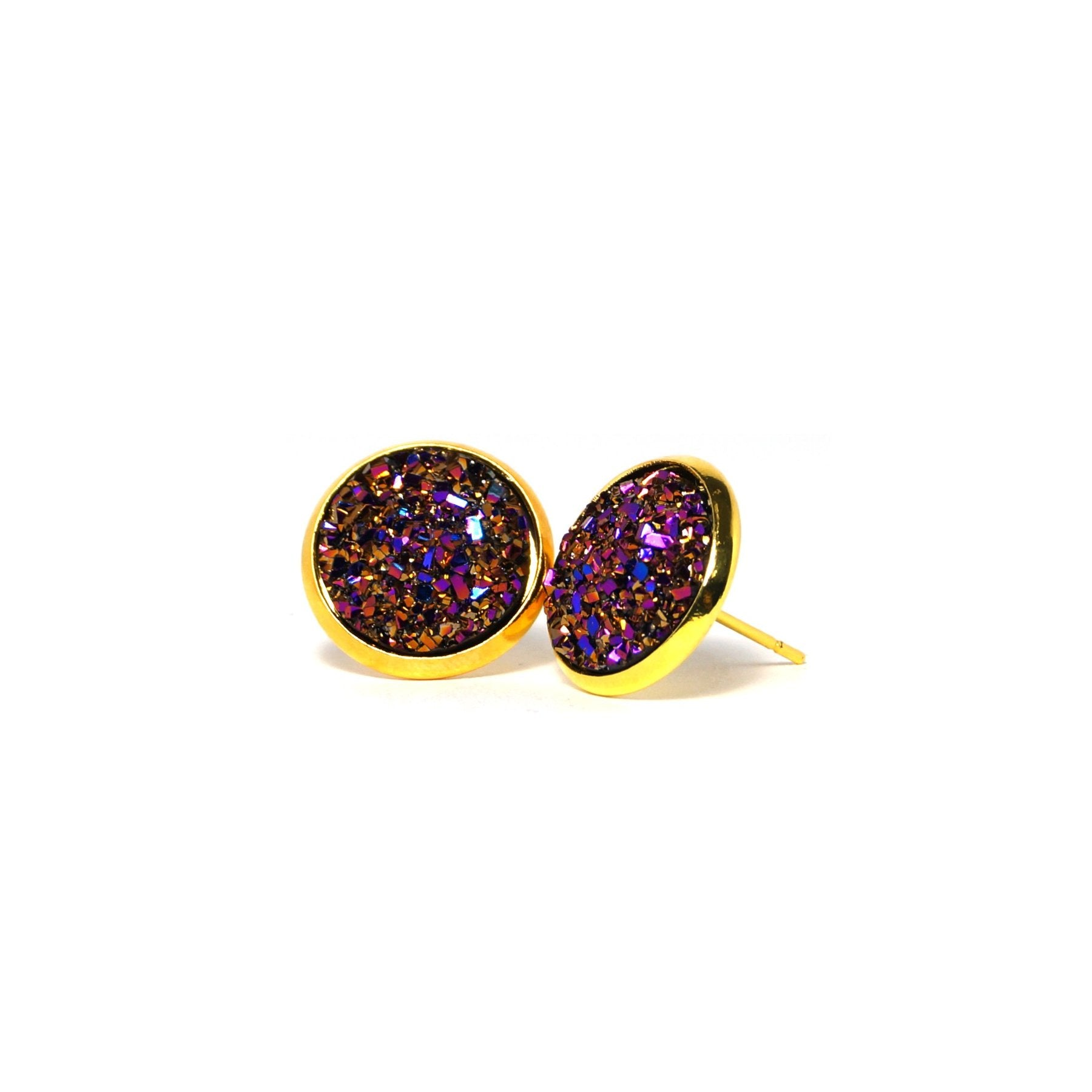 Shop Purple Woodnymph Druzy Stud Earrings (14mm)-Jarvi