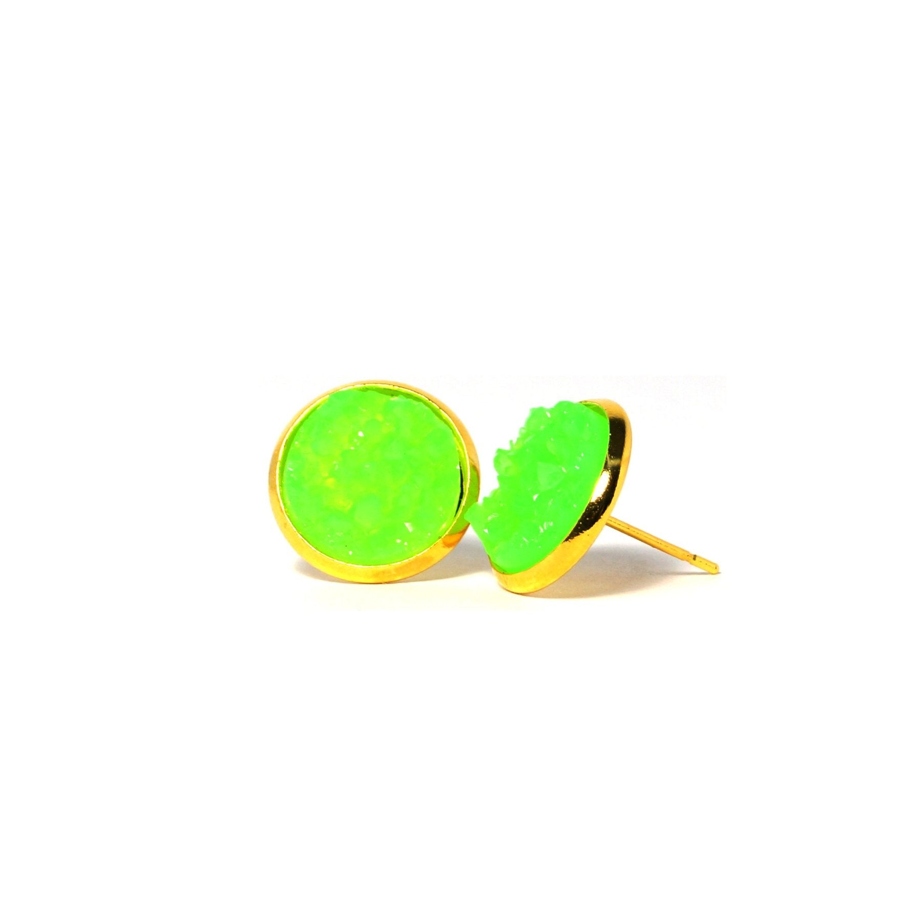 Shop Green Turaco Druzy Stud Earrings (14mm)-Jarvi