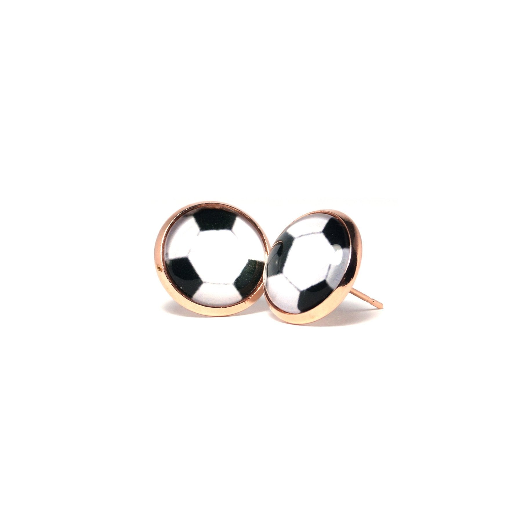 Shop White Football Stud Earrings (14mm)-Jarvi