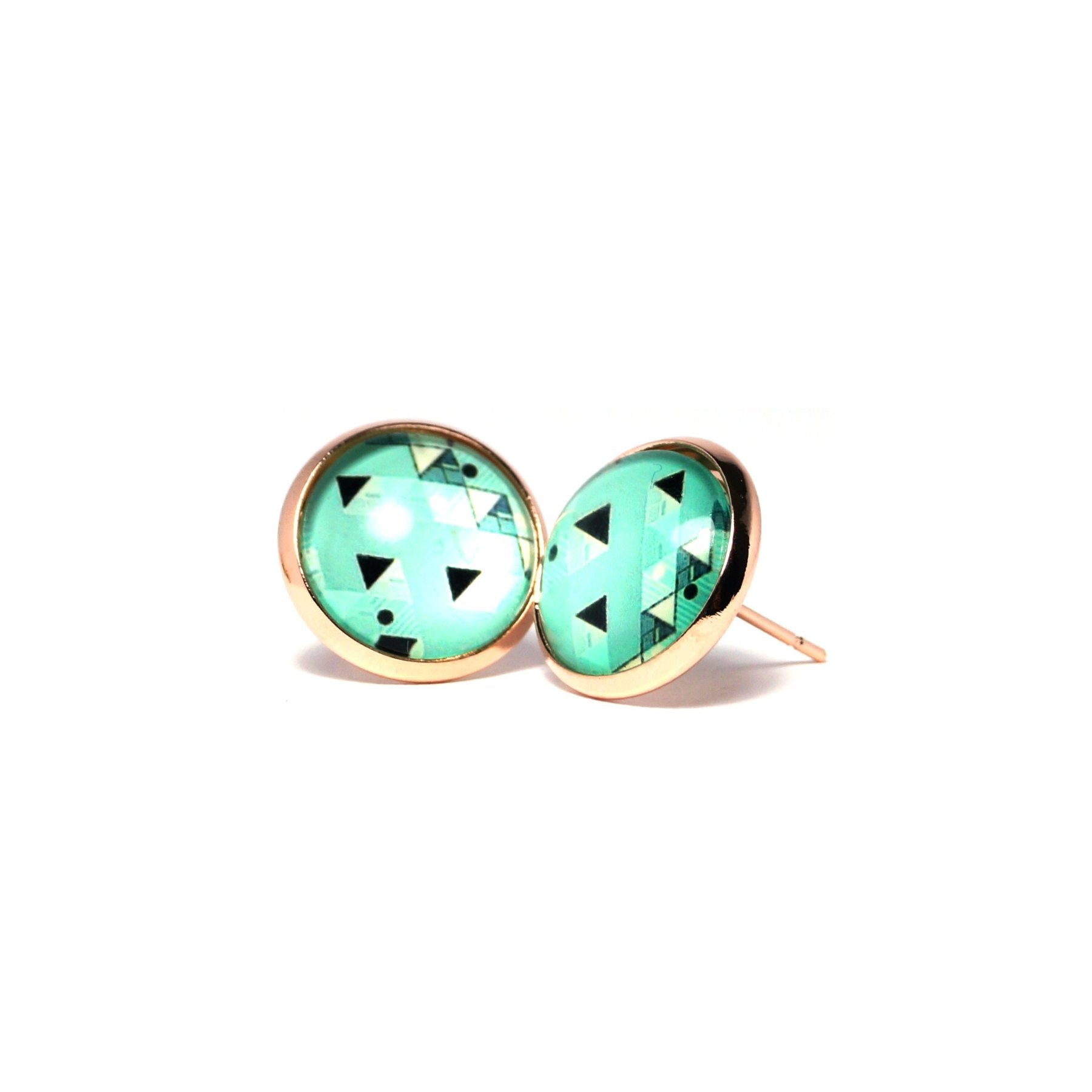 Shop Pastel Green Geometric Stud Earrings (14mm)-Jarvi