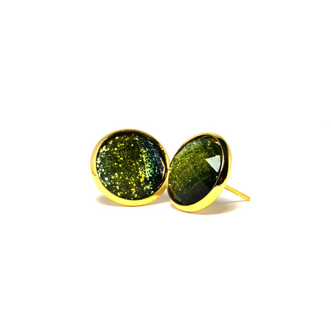 Shop Green Peacock Faceted Stud Earrings (14mm)-Jarvi