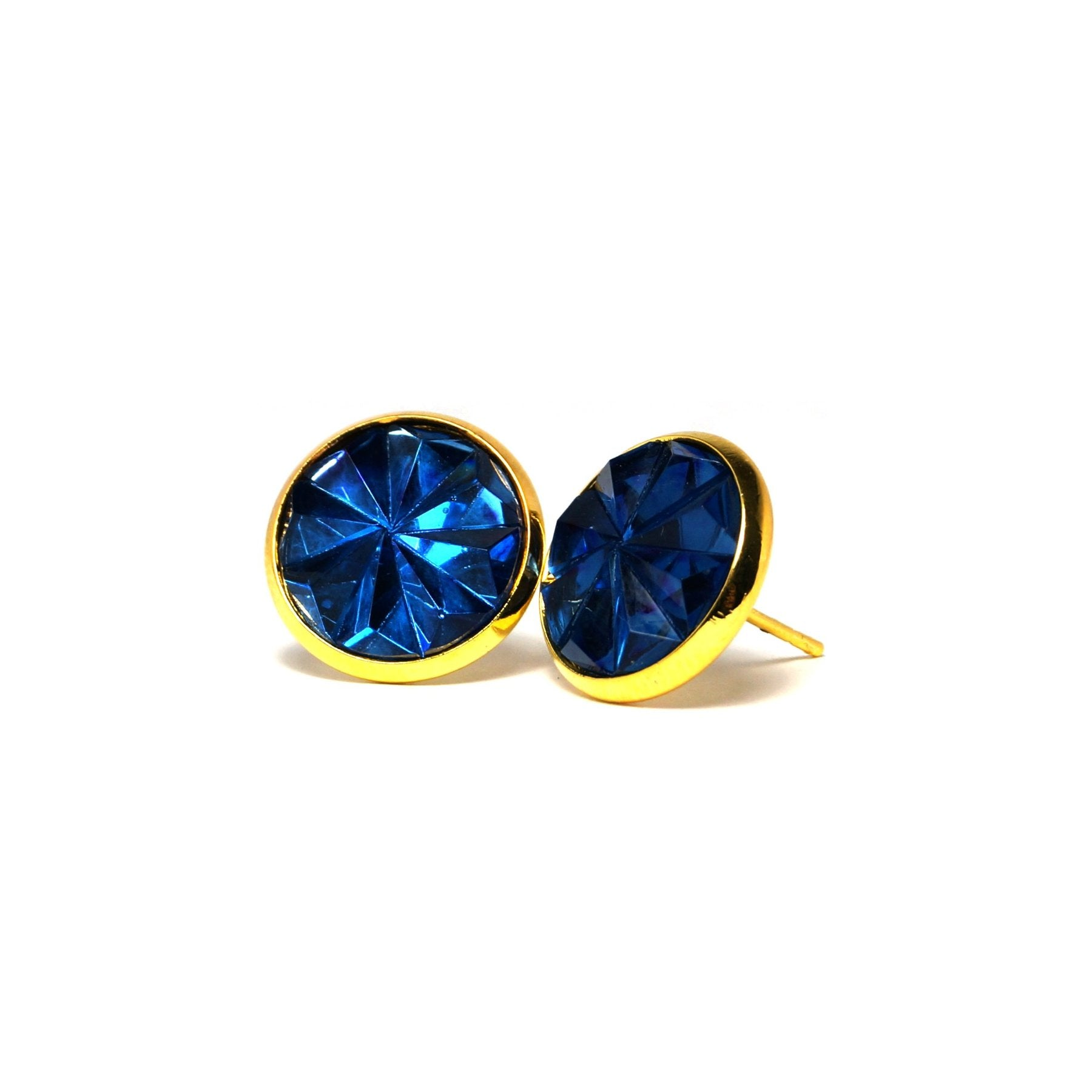 Shop Blue Heron Faceted Stud Earrings (14mm)-Jarvi