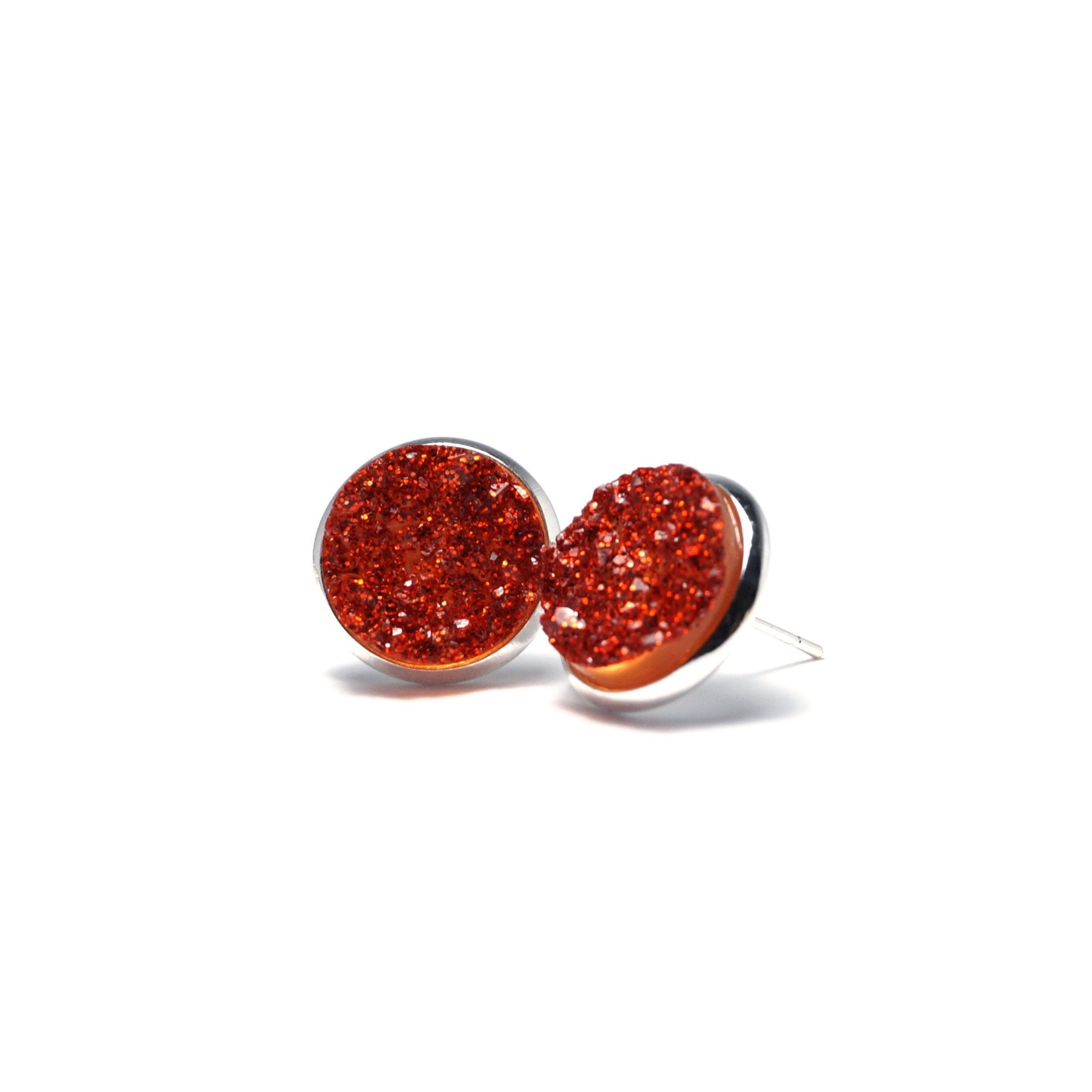Shop Red Cardinal Druzy Stud Earrings (14mm)-Jarvi