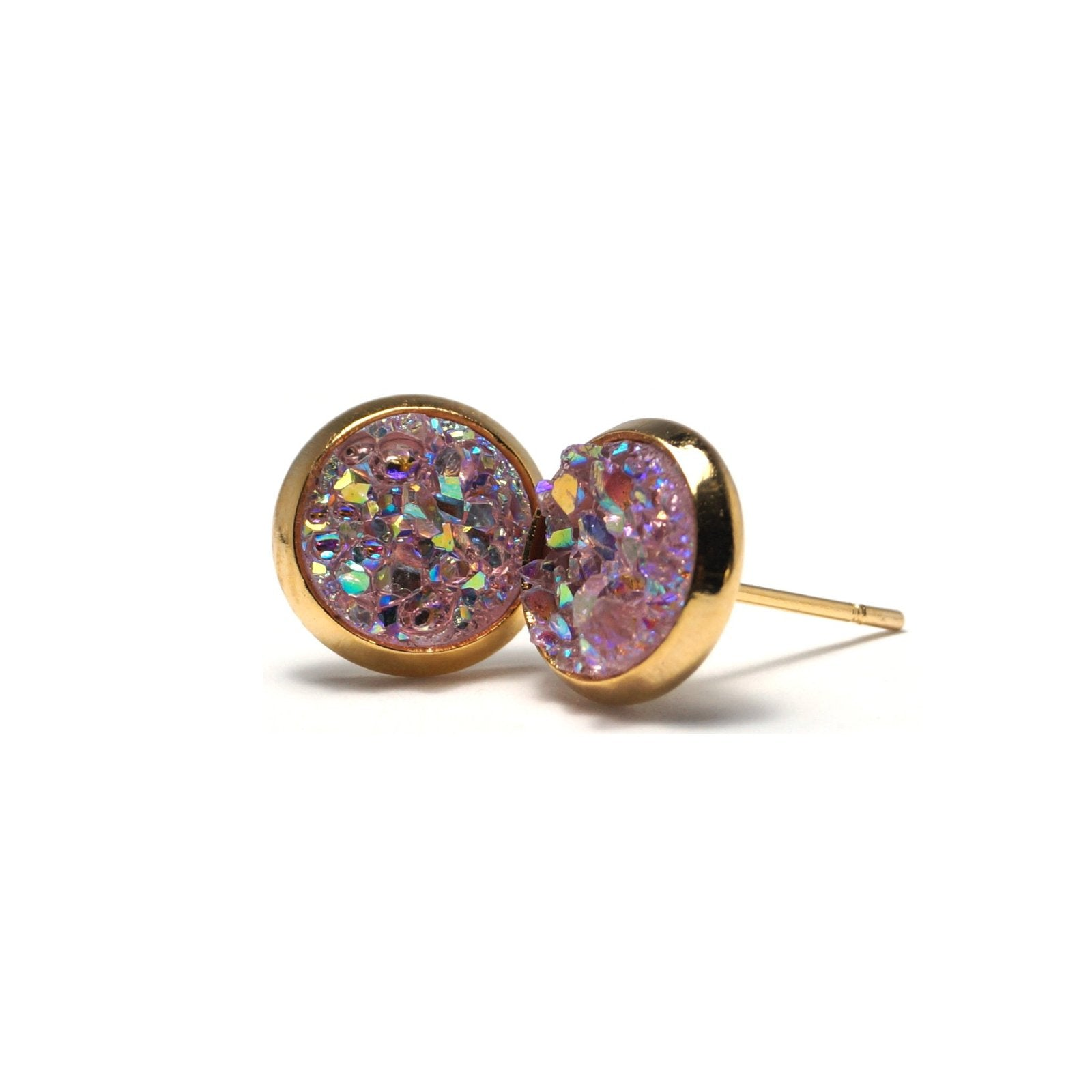 Shop Pink Chick Galah Druzy Stud Earrings (10mm)-Jarvi
