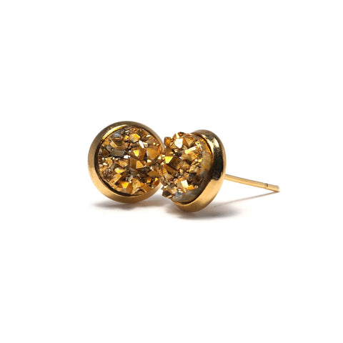 Shop Golden Chick Canary Druzy Stud Earrings (10mm)-Jarvi