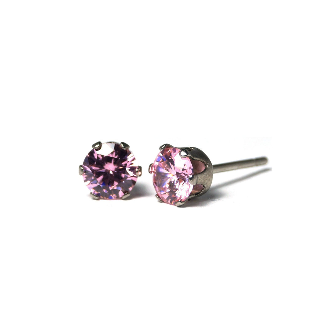 Shop Blush Cubic Zirconia Stud Earrings (6mm)-Jarvi