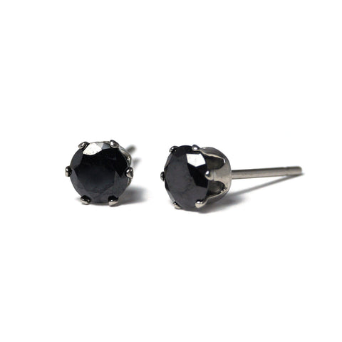 Shop Midnight Cubic Zirconia Stud Earrings (6mm)-Jarvi