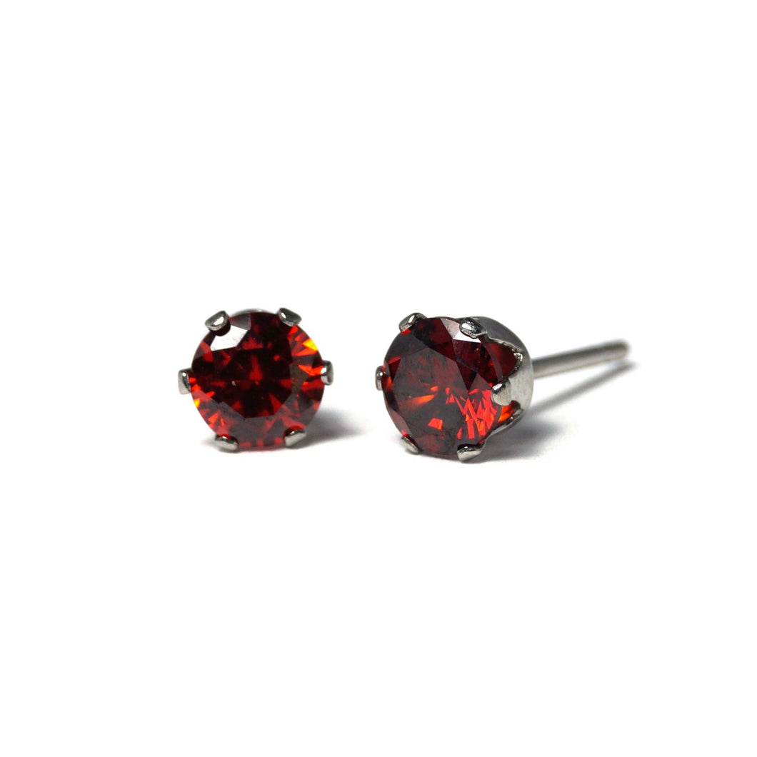 Shop Crimson Cubic Zirconia Stud Earrings (6mm)-Jarvi