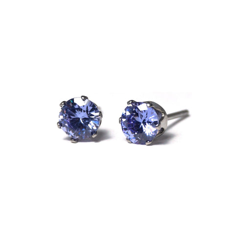 Shop Orchid Cubic Zirconia Stud Earrings (6mm)-Jarvi