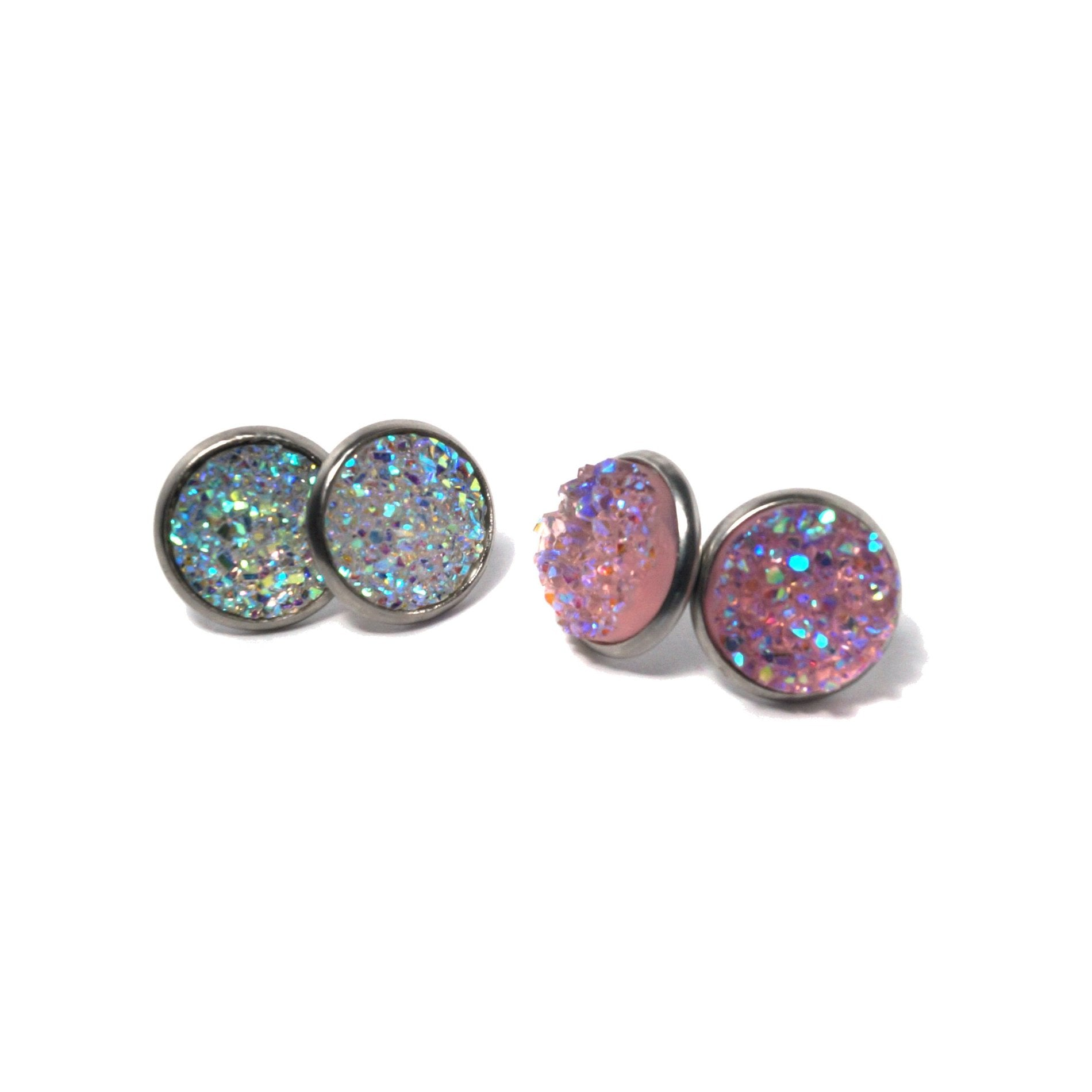 Shop Spring Blush Druzy Stud Earrings Set (14mm)-Jarvi