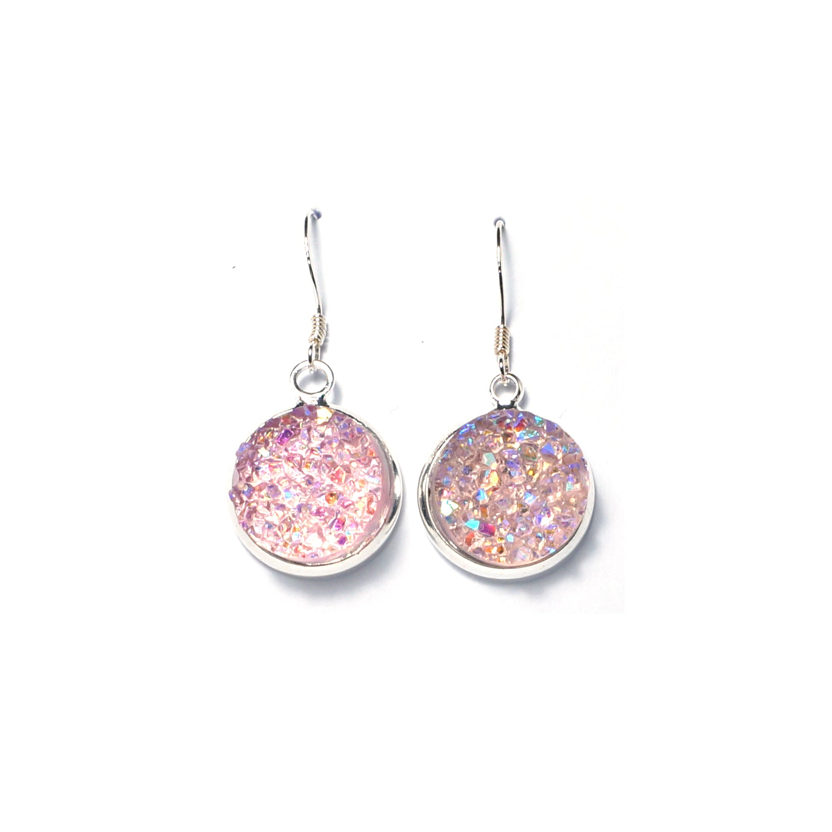 Shop Blush Pink Druzy Drop Earrings (14mm)-Jarvi