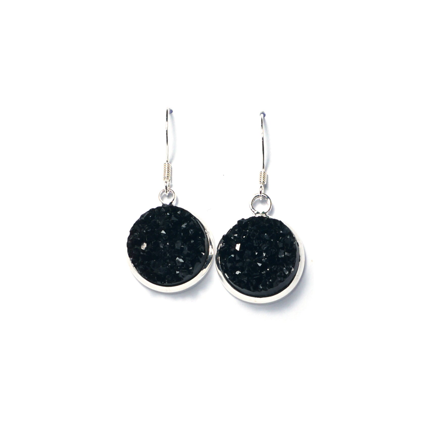 Shop Black Druzy Drop Earrings (14mm)-Jarvi