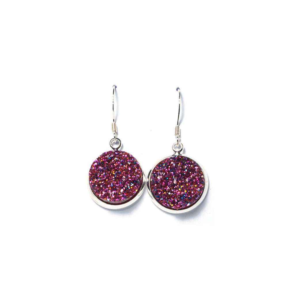 Shop Glittery Pink Druzy Drop Earrings (14mm)-Jarvi