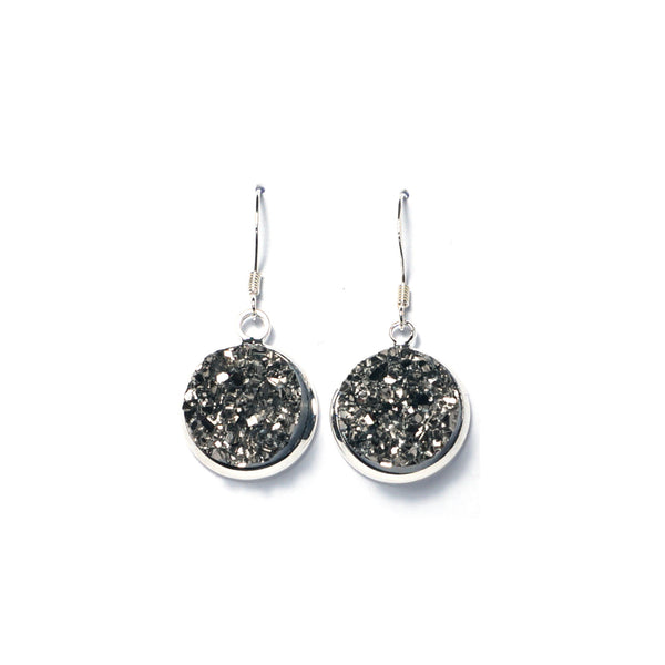 Shop Gray Druzy Drop Earrings (14mm)-Jarvi