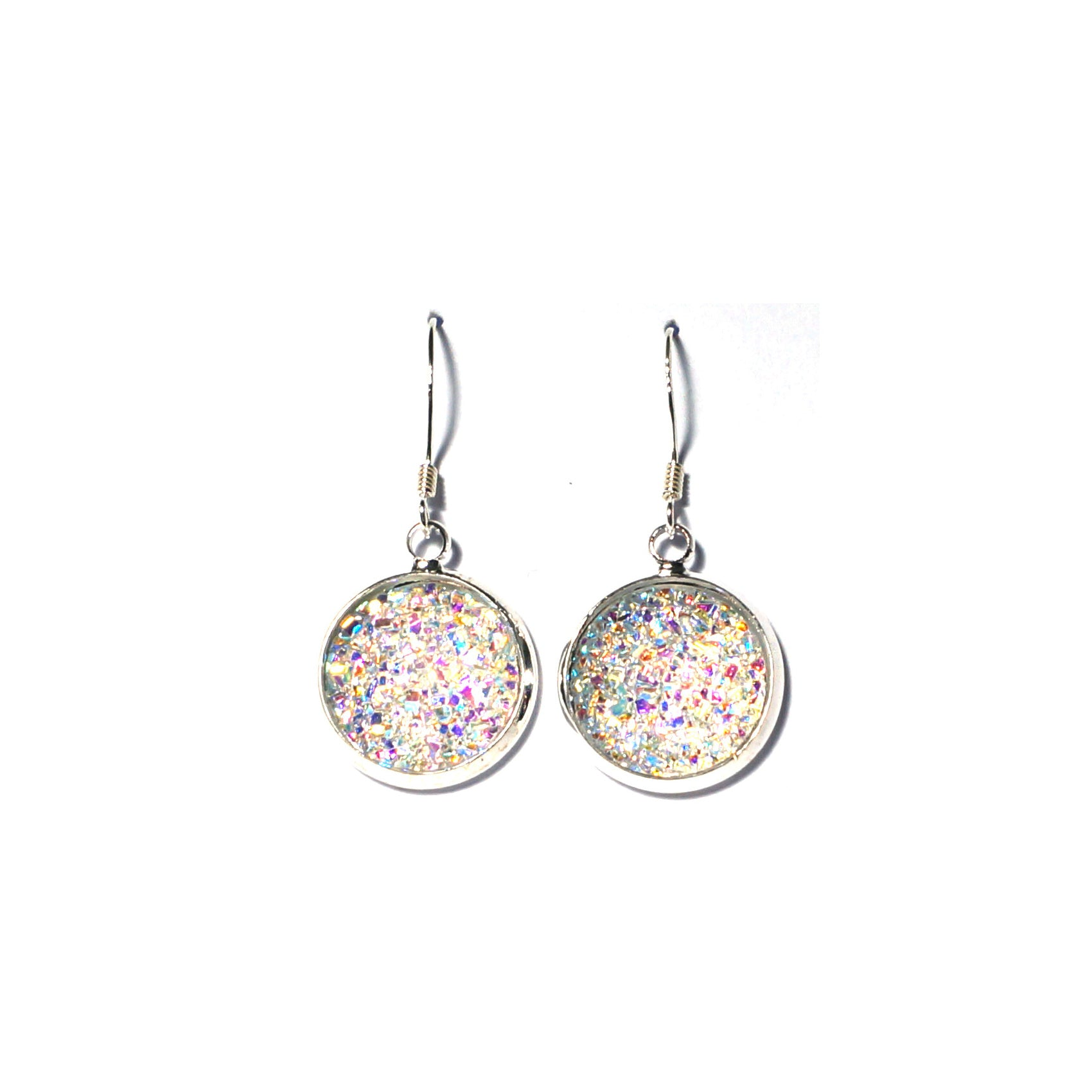 Shop Clear Druzy Drop Earrings (14mm)-Jarvi