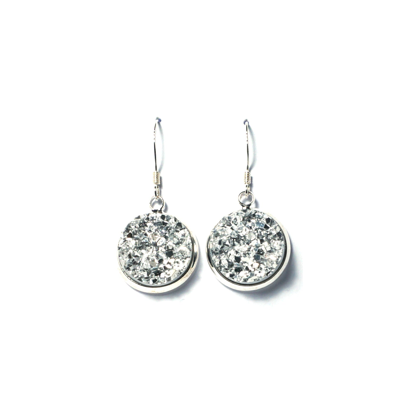 Shop Silver Druzy Drop Earrings (14mm)-Jarvi