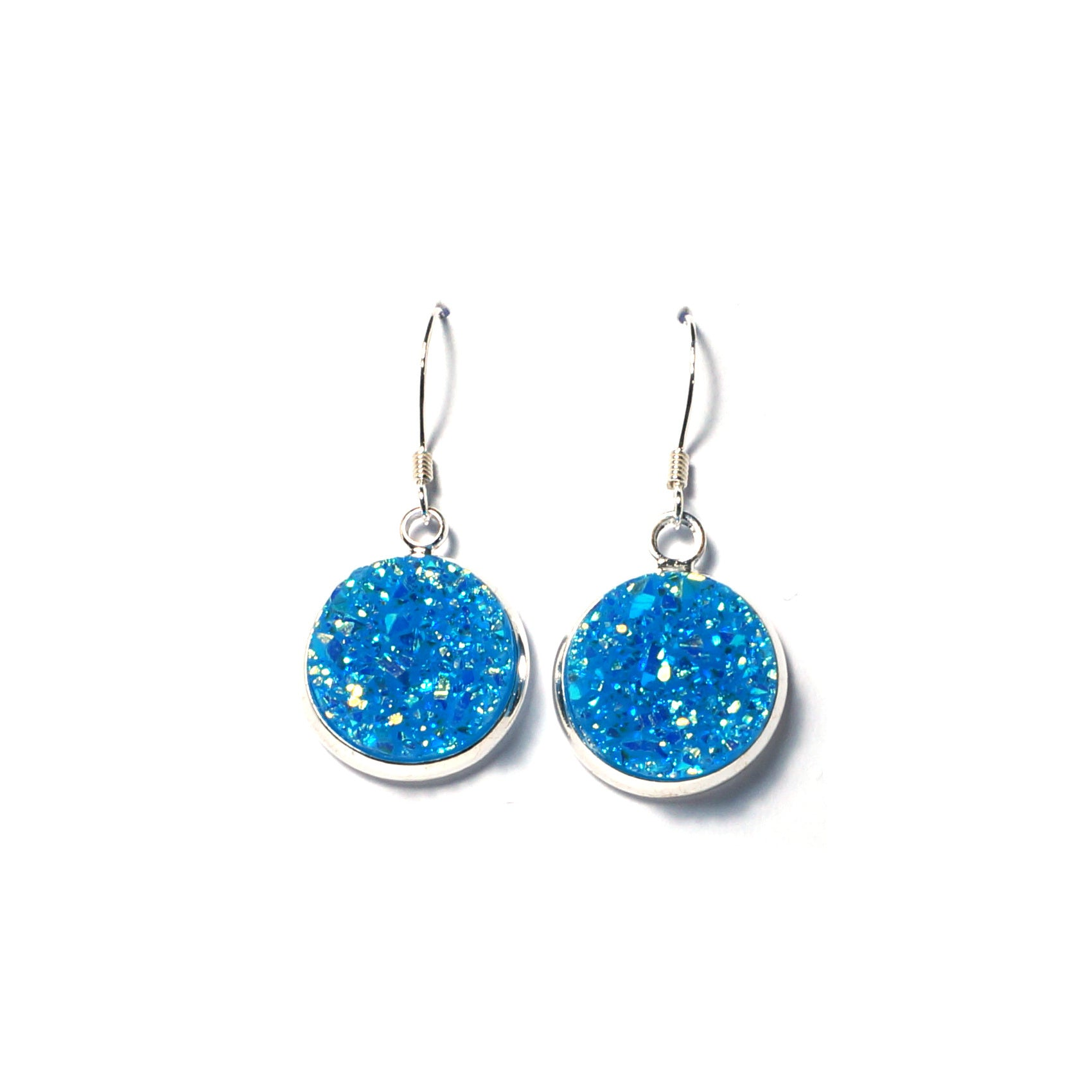 Shop Lake Blue Druzy Drop Earrings (14mm)-Jarvi