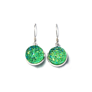 Shop Lawn Green Druzy Drop Earrings (14mm)-Jarvi
