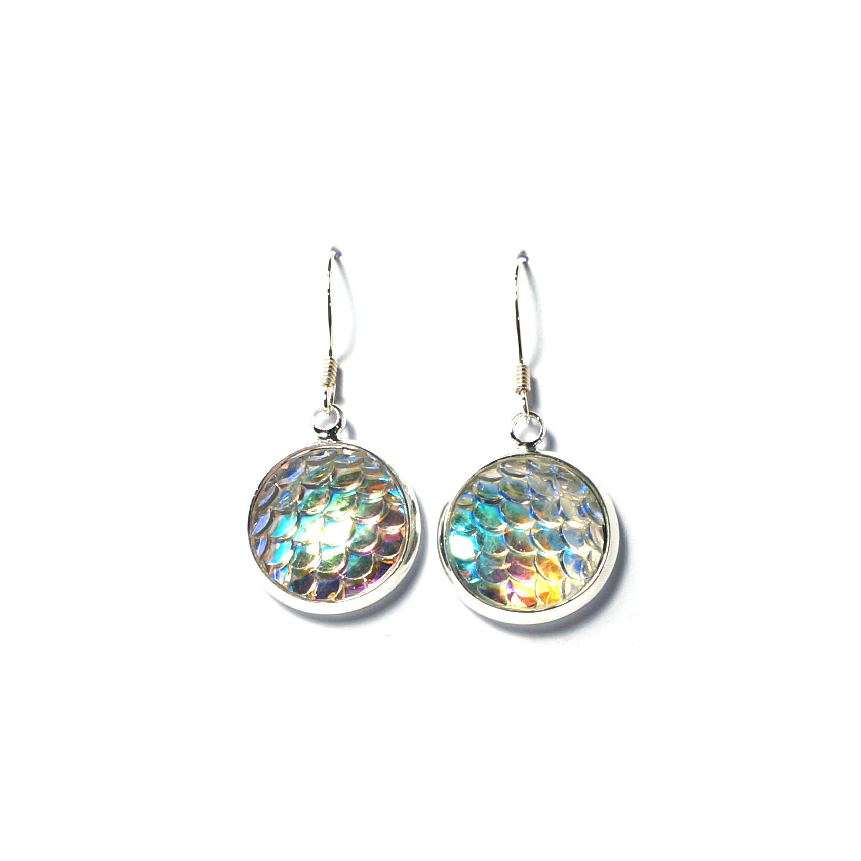 Shop Clear Mermaid Scale Drop Earrings (14mm)-Jarvi