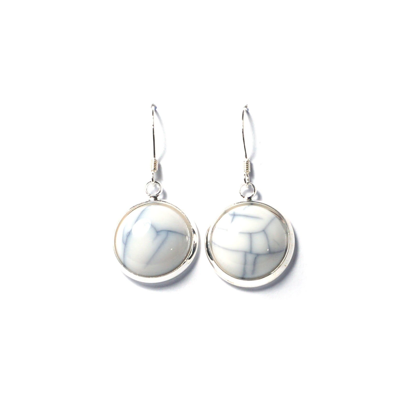 Shop White Marble Drop Earrings (14mm)-Jarvi