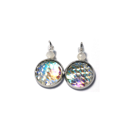 Shop Mermaid Scale Stainless Steel Drop Earrings (14mm)-Jarvi
