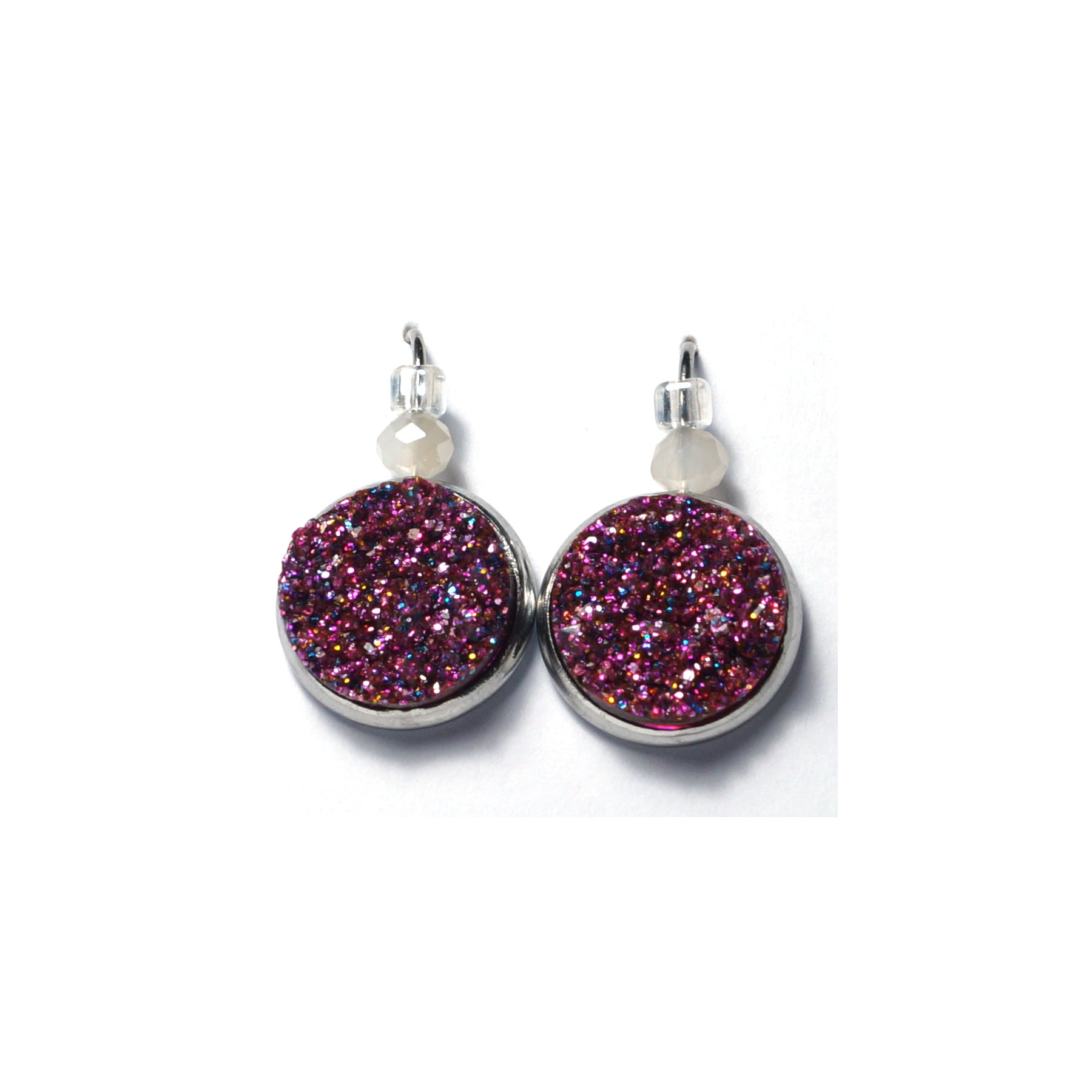 Shop Glittery Pink Stainless Steel Drop Earrings (14mm)-Jarvi