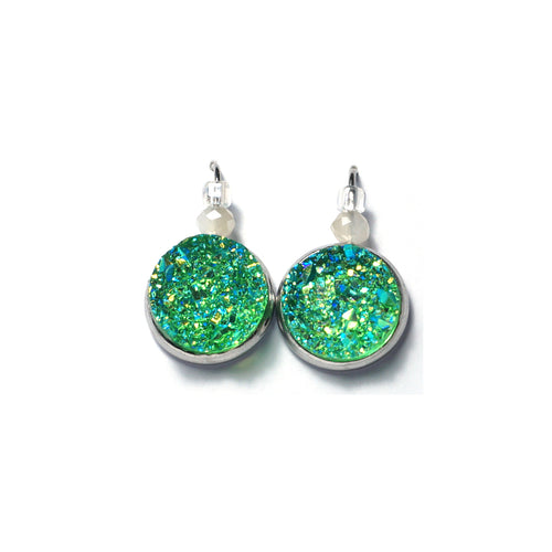Shop Lawn Green Stainless Steel Drop Earrings (14mm)-Jarvi