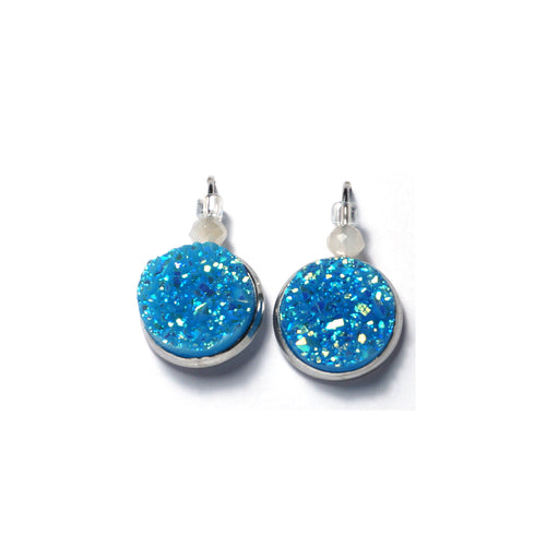 Shop Lake Blue Stainless Steel Drop Earrings (14mm)-Jarvi