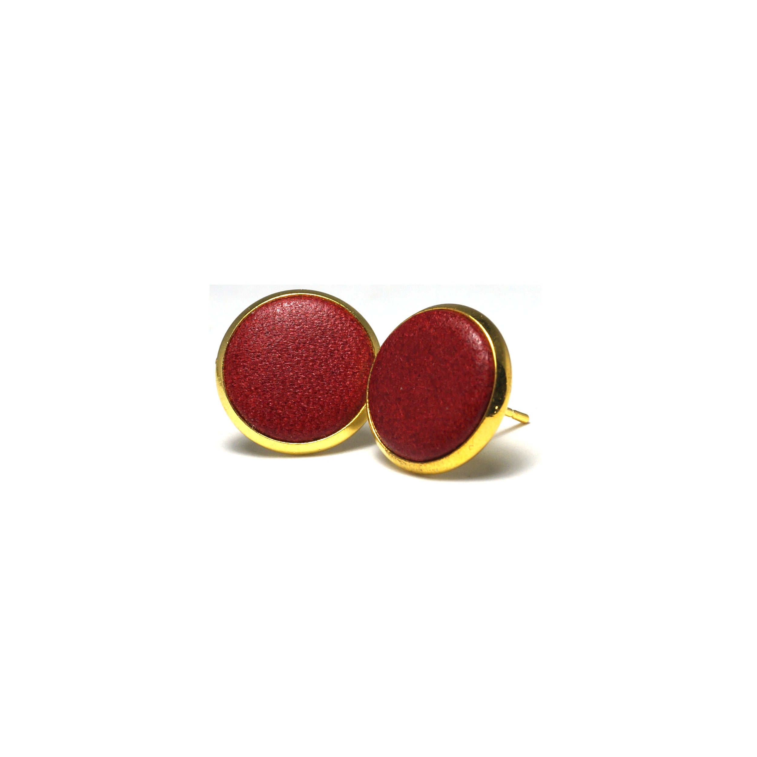 Shop Red Leather Stud Earrings (14mm)-Jarvi