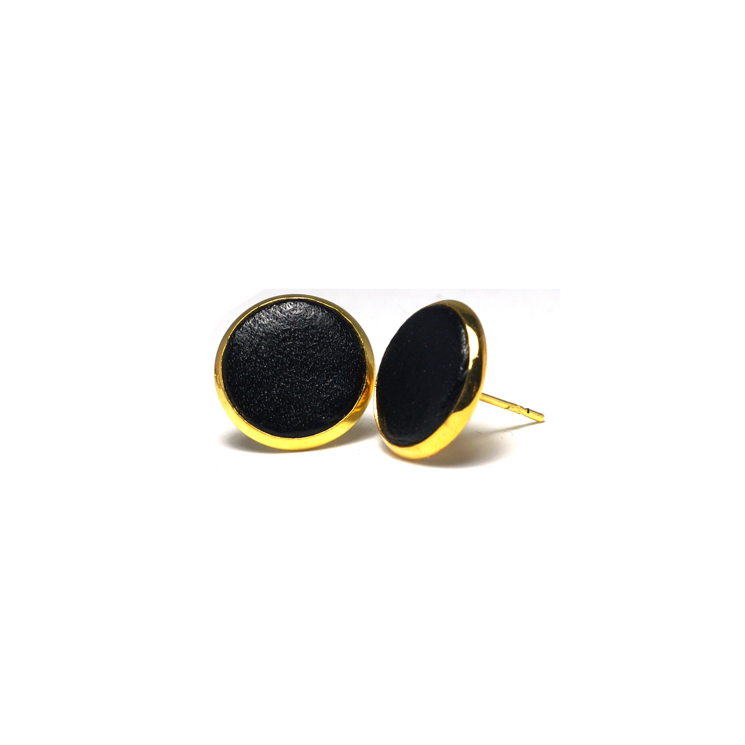 Shop Black Leather Stud Earrings (14mm)-Jarvi