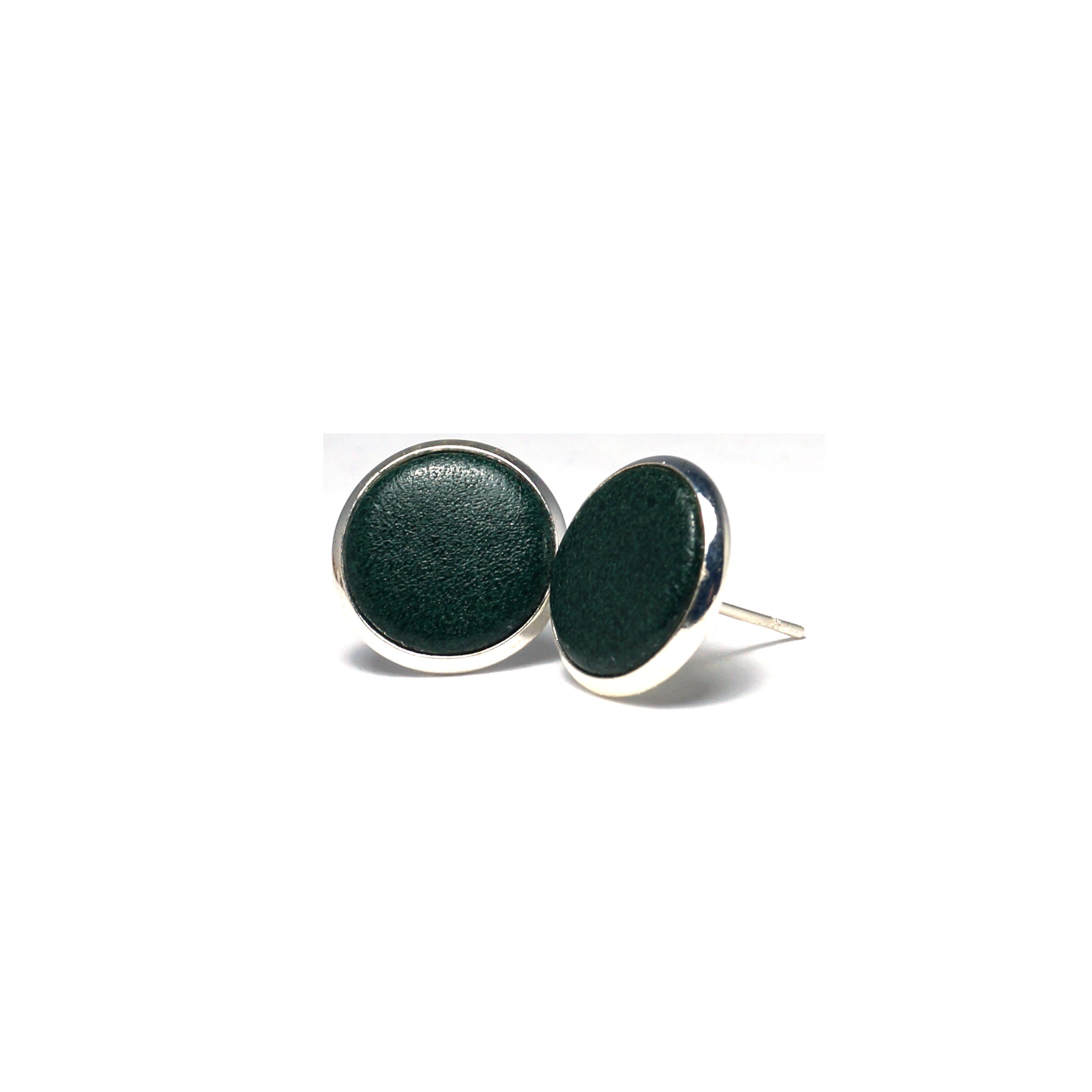 Shop Hunter Green Leather Stud Earrings (14mm)-Jarvi