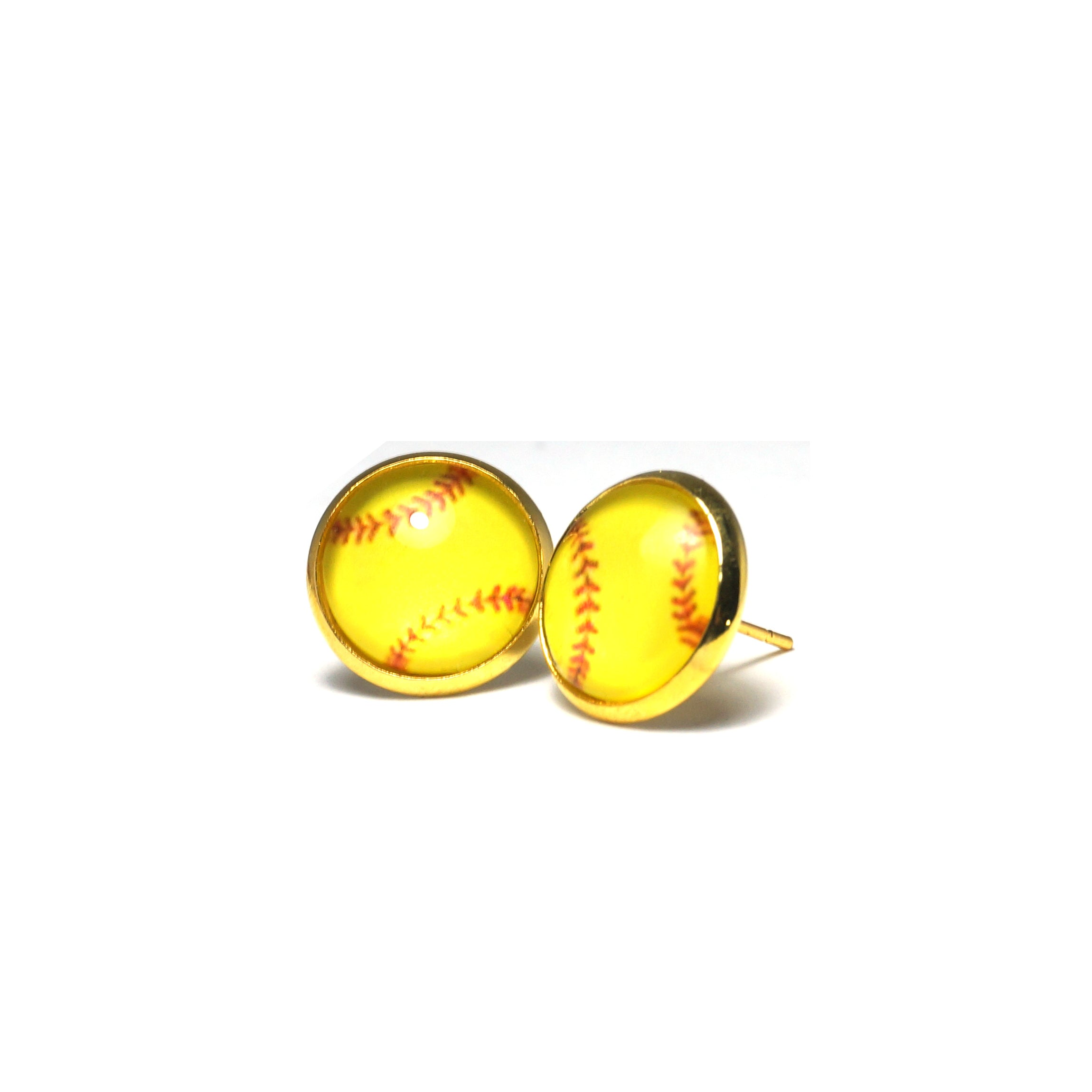 Shop Yellow Baseball Stud Earrings (14mm)-Jarvi