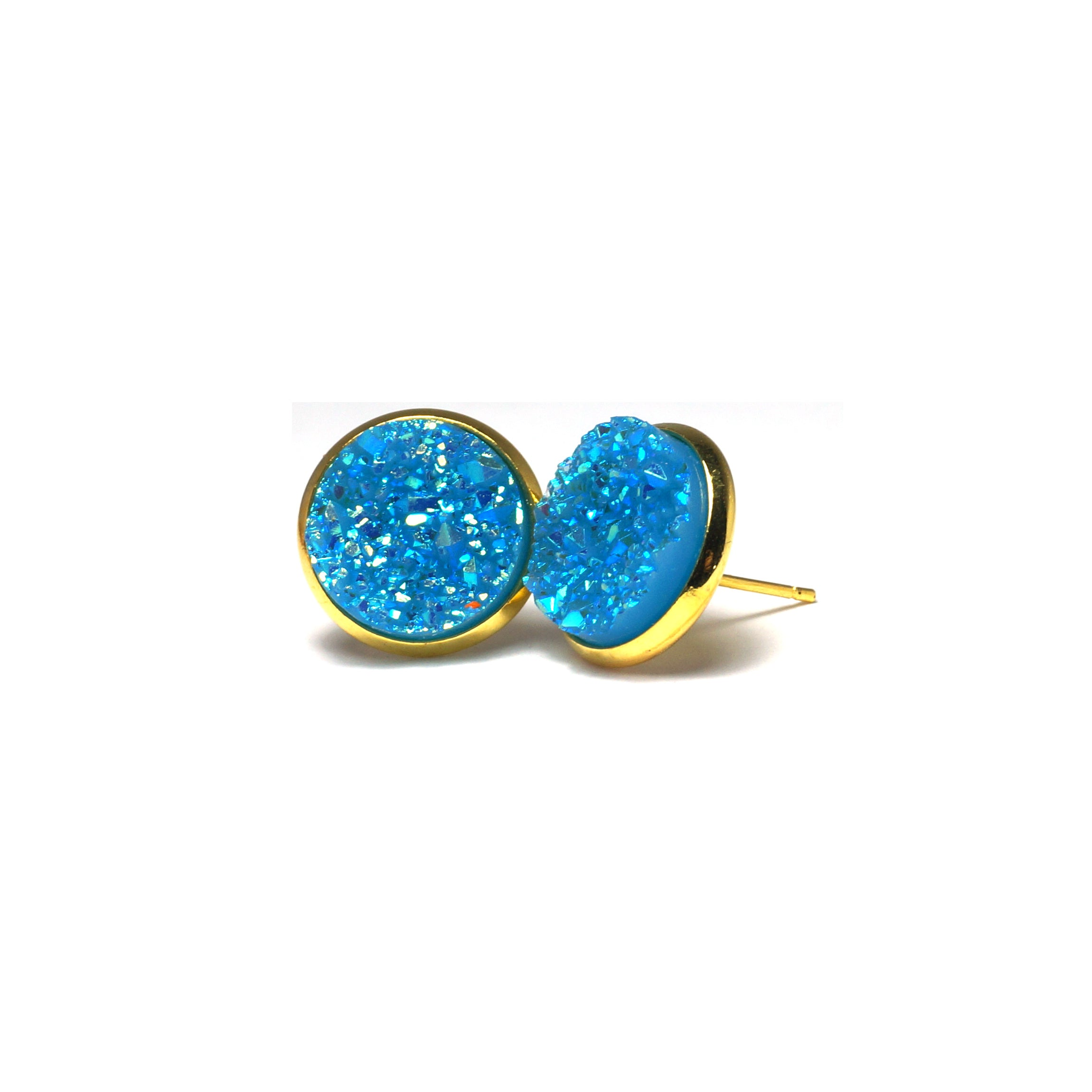 Shop Lake Blue Druzy Stud Earrings (14mm)-Jarvi