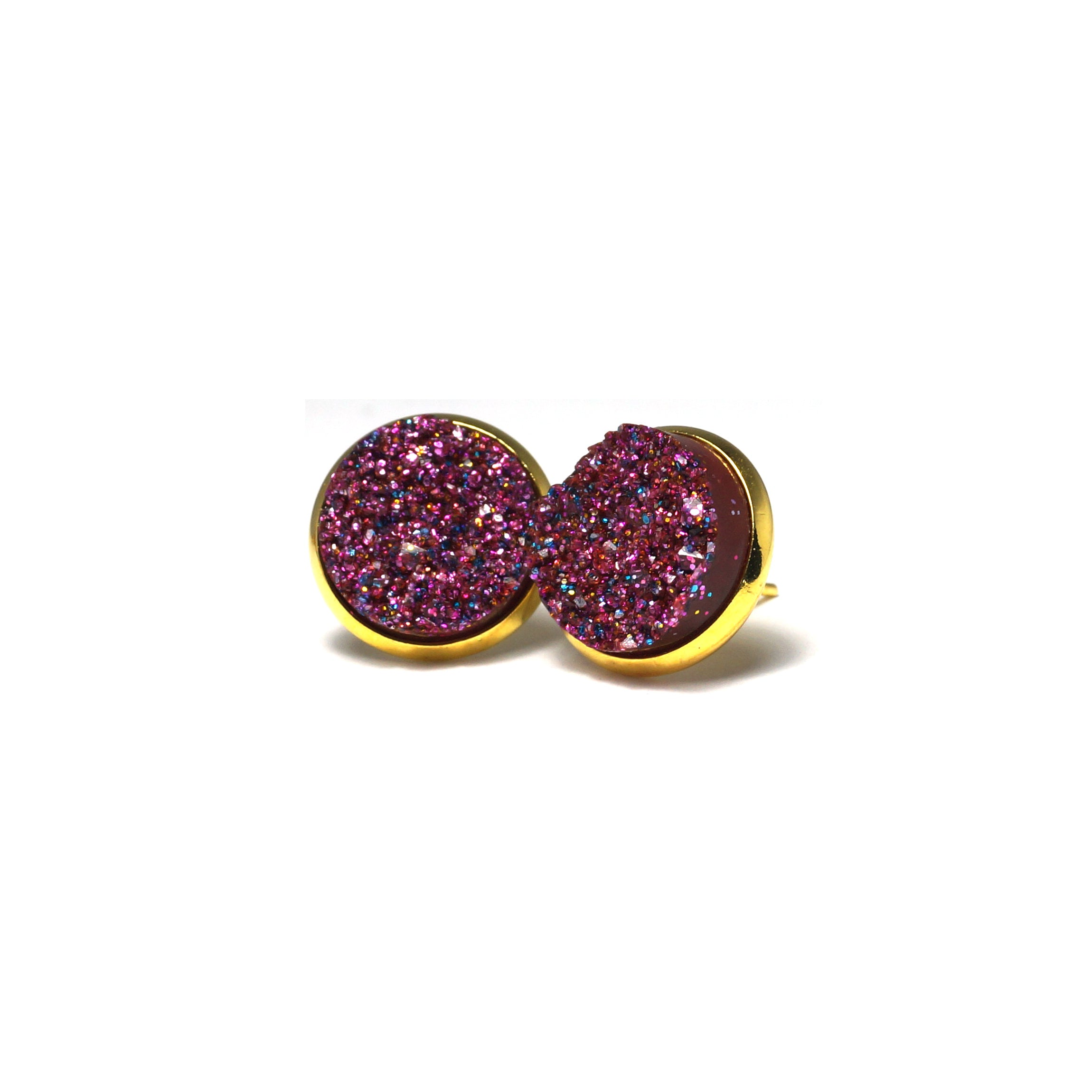 Shop Glittery Purple Druzy Stud Earrings (14mm)-Jarvi