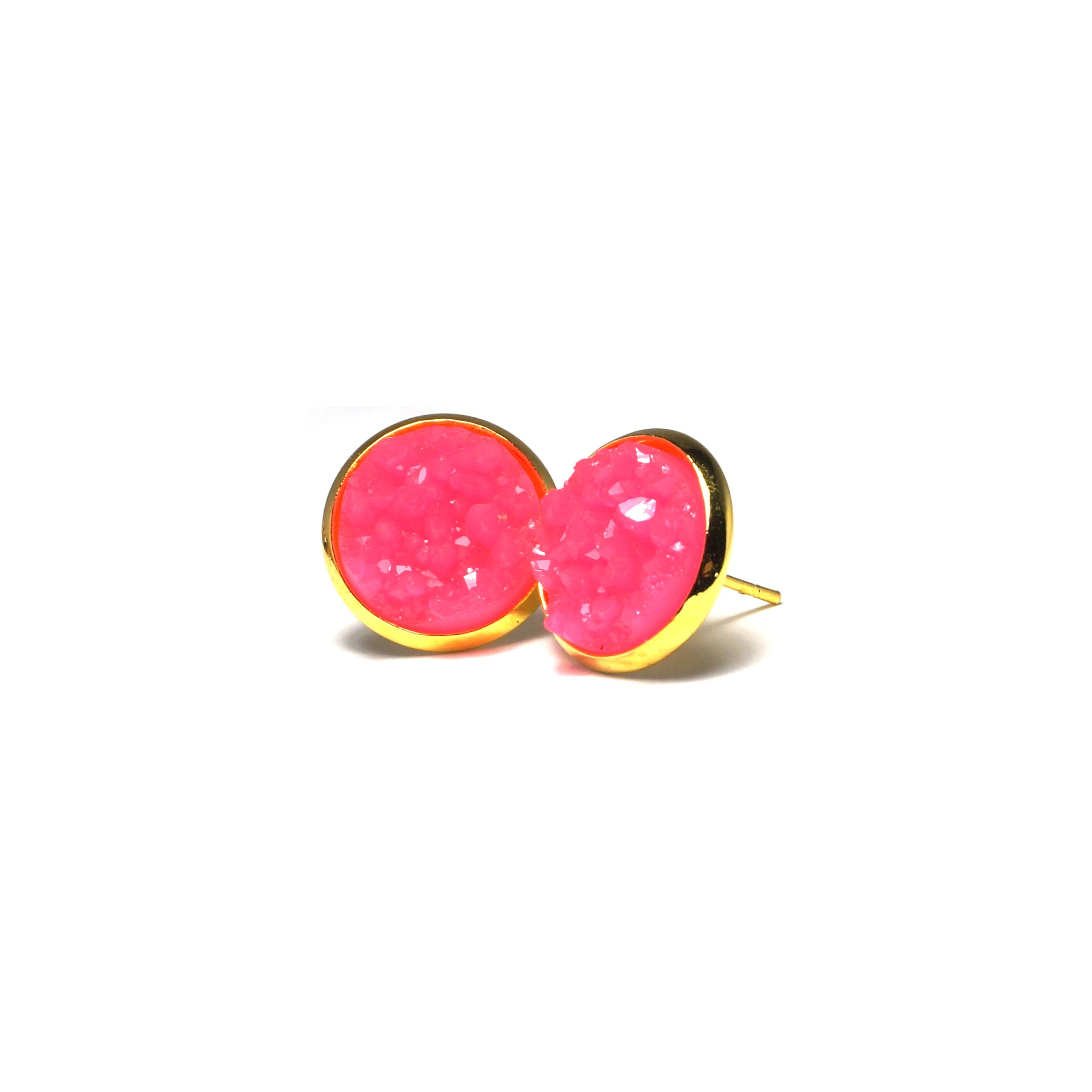 Shop Neon Pink Druzy Stud Earrings (14mm)-Jarvi