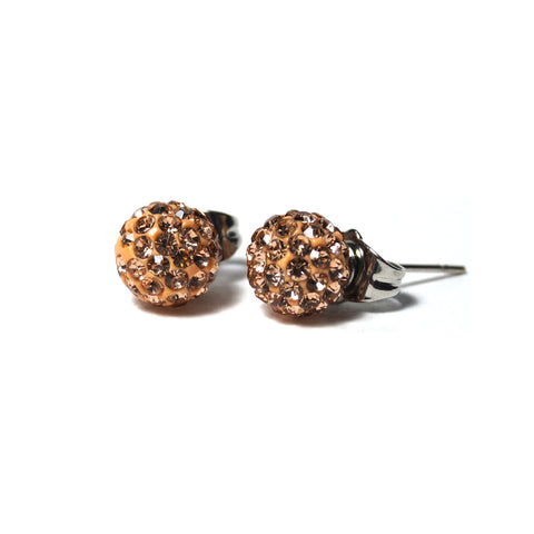 Shop Champagne Shimmery Ball Stud Earrings (8mm)-Jarvi