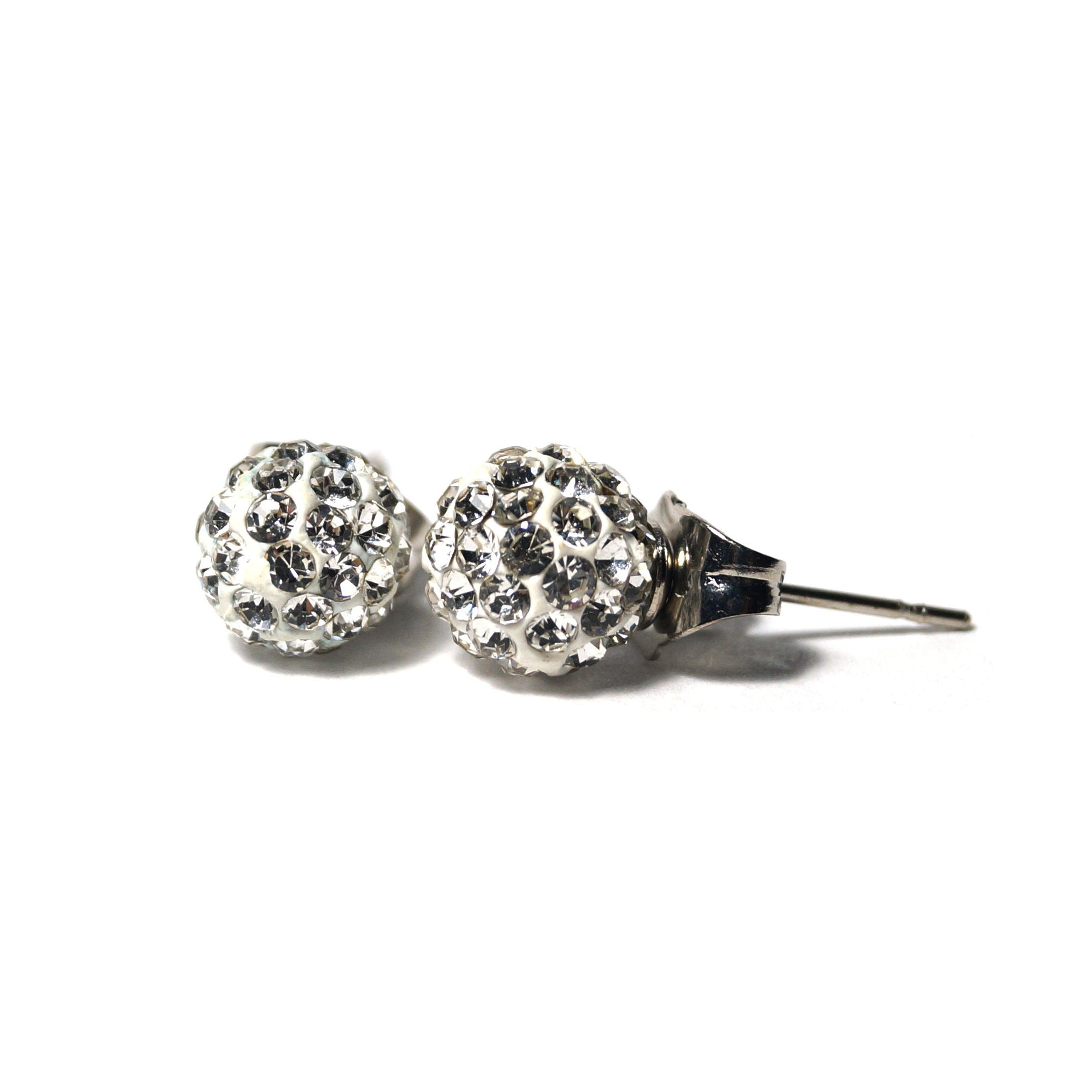 Shop Silver Shimmery Ball Stud Earrings (8mm)-Jarvi