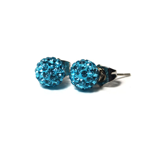 Shop Teal Shimmery Ball Stud Earrings (8mm)-Jarvi
