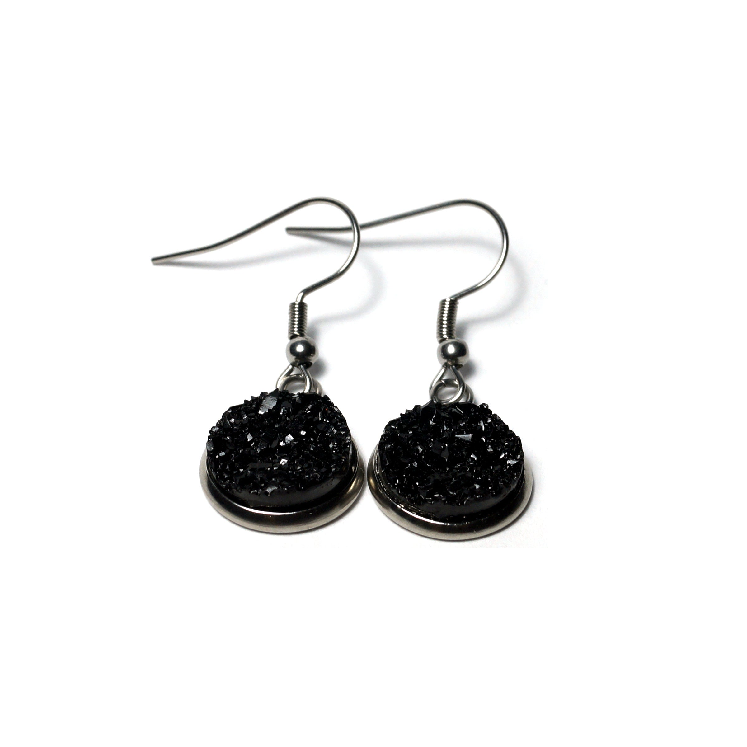 Shop Black Stainless Steel Drop Earrings (14mm)-Jarvi